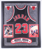 Michael Jordan Signed 34x40 Custom Framed Jersey (PSA LOA) at PristineAuction.com