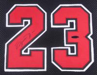 Michael Jordan Signed 34x40 Custom Framed Jersey (PSA LOA) at PristineAuction.com