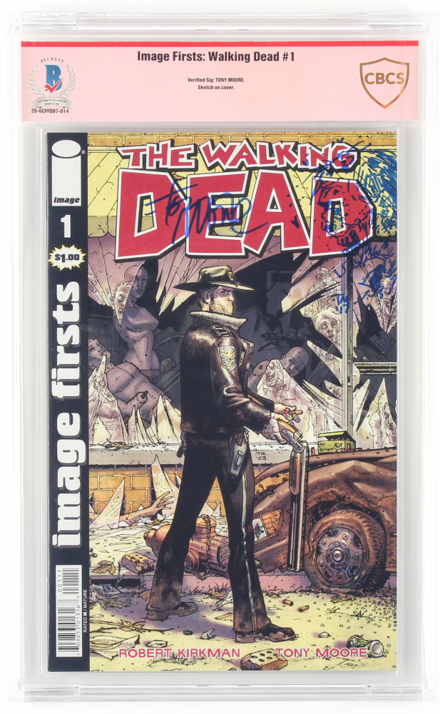 """Tony Moore Signed 2009 """"The Walking Dead"""" Issue #1 Image Comic Book with Sketch (CBCS Encapsulated) at PristineAuction.com"""
