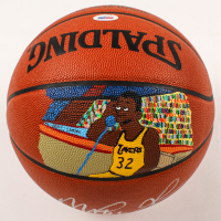 Magic Johnson Signed Hand-Painted Official NBA Game Ball Basketball (PSA LOA) at PristineAuction.com
