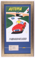 "Disneyland Tomorrowland's ""Autopia"" 15.5x26.5 Custom Framed Print Display with Vintage 1960's Autopia Ticket & Vintage Autopia Pin at PristineAuction.com"