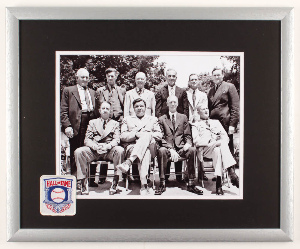 Babe Ruth & the MLB Inaugural Hall of Fame Class 17.5x21.5 Custom Framed Photo Display with Vintage Hall of Fame Patch at PristineAuction.com