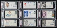 Lot of (9) Signed Baseball FDC Envelopes with Enos Slaughter, Bob Lemon, Bobby Doerr (PSA Encapsulated) at PristineAuction.com