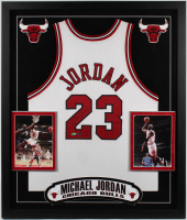 Michael Jordan Signed 34x40 Custom Framed Jersey Display (PSA LOA & UDA Hologram) at PristineAuction.com