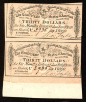 Lot of (2) Uncut 1864 $30 Thirty Dollar Confederate States of America Richmond CSA Bank Note Bonds at PristineAuction.com