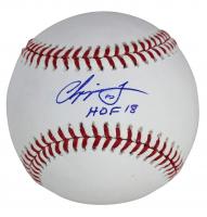 """Chipper Jones Signed OML Baseball Inscribed """"HOF 18"""" (Beckett COA) at PristineAuction.com"""