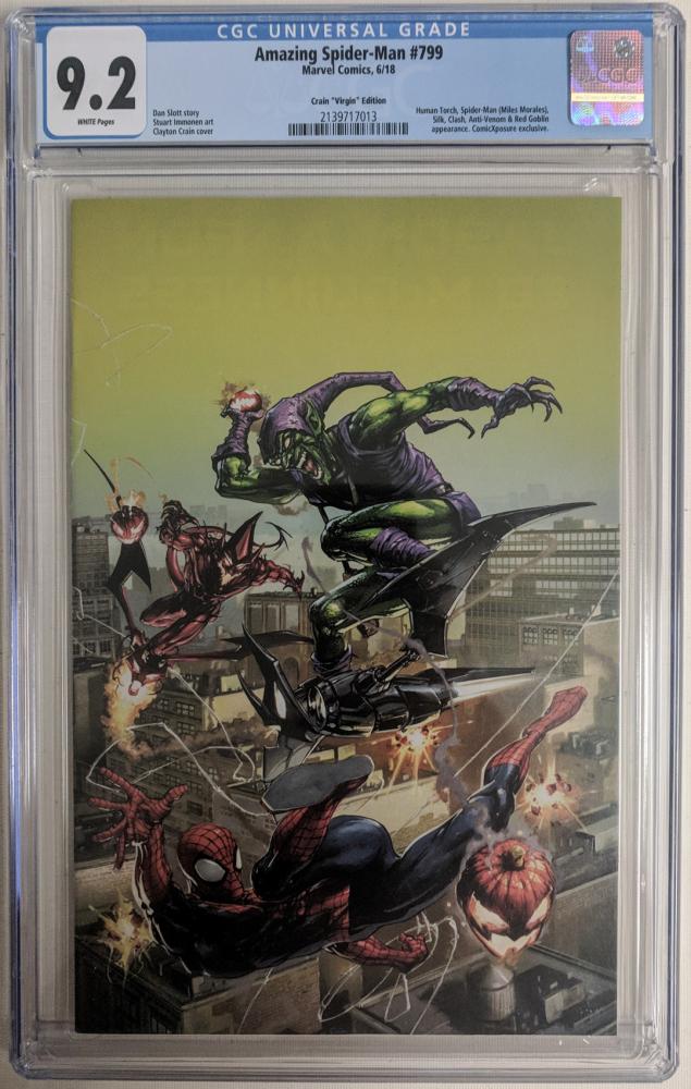 "2018 ""Amazing Spider-Man"" Issue #799 Comicxposure Exclusive Clayton Crain Connecting Virgin Variant Marvel Comic Book (CGC 9.2) at PristineAuction.com"