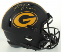 "Aaron Jones Signed Packers Full-Size Eclipse Alternate Speed Helmet Inscribed ""Go Pack Go"" (Beckett COA) at PristineAuction.com"