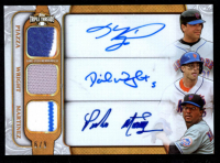 2014 Topps Triple Threads Autograph Relic Combos Gold #TTARCPWH Pedro Martinez / David Wright / Mike Piazza at PristineAuction.com
