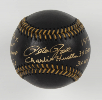 Pete Rose Signed OML Black Leather Baseball with (9) Inscriptions (Fiterman Hologram) at PristineAuction.com