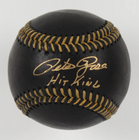 "Pete Rose Signed OML Black Leather Baseball Inscribed ""Hit King"" (Fiterman Hologram) at PristineAuction.com"