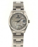 Rolex Diamond Oyster Perpetual DateJust Men's Wristwatch with Box & Papers at PristineAuction.com