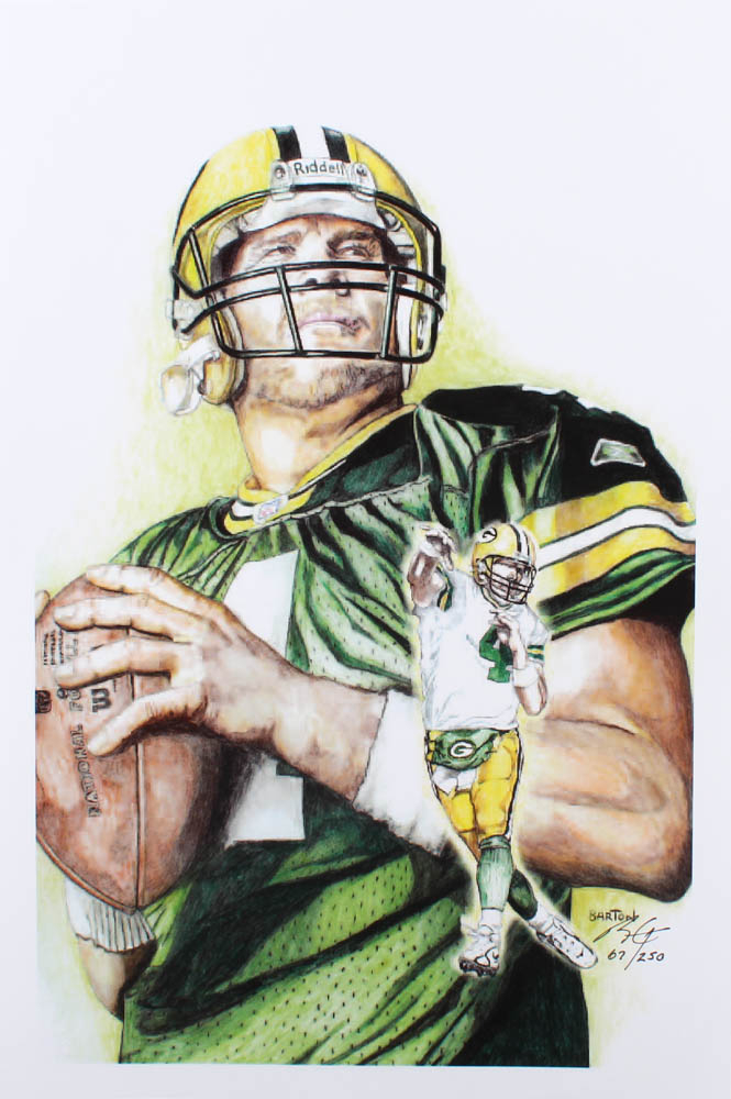 Brett Favre - Packers - Brian Barton 12x18 Signed Limited Edition Lithograph #/250 (PA COA) at PristineAuction.com