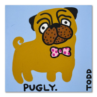 "Todd Goldman Signed ""Pugly"" 30x30 Original Acrylic Painting on Gallery Wrapped Canvas at PristineAuction.com"