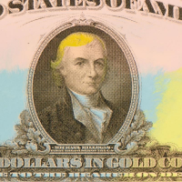 """Steve Kaufman Signed """"1922 Gold Ten Dollars State"""" Hand Embellished Limited Edition 30x12 Silkscreen on Canvas, AP #23/50 at PristineAuction.com"""