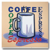 "Steve Kaufman Signed ""ESPRESSO"" Limited Edition 25x25 Hand Pulled Silkscreen Mixed Media on Canvas at PristineAuction.com"