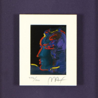 """Peter Max Signed """"Abstract Profile I"""" Limited Edition 15x15 Custom Framed Lithograph #496/500 at PristineAuction.com"""