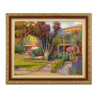 "Ming Feng Signed ""Hideaway Villa"" 37x31 Custom Framed Original Oil Painting on Canvas at PristineAuction.com"