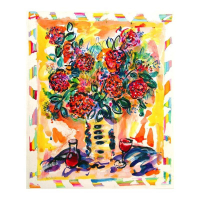 "Wayne Ensrud Signed ""Floral Still Life"" 24x20 Mixed Media Original Artwork at PristineAuction.com"