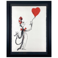 """Mr Brainwash Signed """"Cat and the Heart (Balloon)"""" Limited Edition 37x29 Custom Framed Silk Screen #35/50 at PristineAuction.com"""