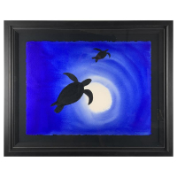 "Wyland Signed ""Ocean Silhouette 2"" 33x40 Custom Framed Original Painting at PristineAuction.com"