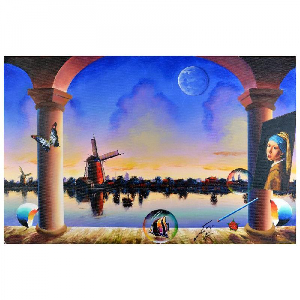 """Ferjo Signed """"Windmill Across the River"""" 24x36 Original Painting on Canvas at PristineAuction.com"""