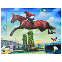 "Ferjo Signed ""Horse Jumping"" 30x40 Original Painting on Canvas at PristineAuction.com"