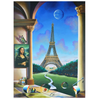 "Ferjo Signed ""Escape in Paris"" 40x30 Original Painting on Canvas at PristineAuction.com"