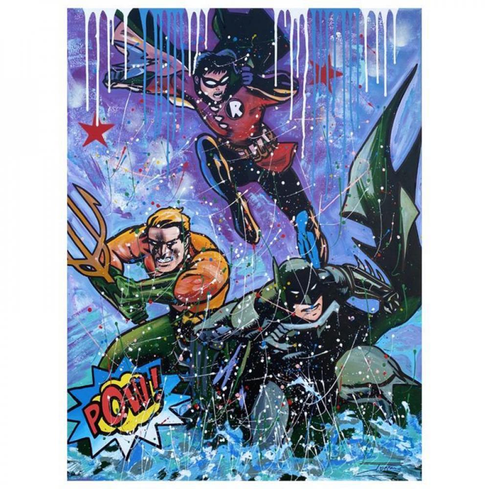 "Jozza Signed ""Batman"" 40x48 Original Mixed Media on Canvas at PristineAuction.com"