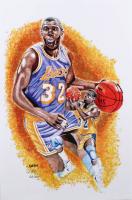 Magic Johnson - Lakers - Brian Barton 12x18 Signed Limited Edition Lithograph #/250 (PA COA) at PristineAuction.com