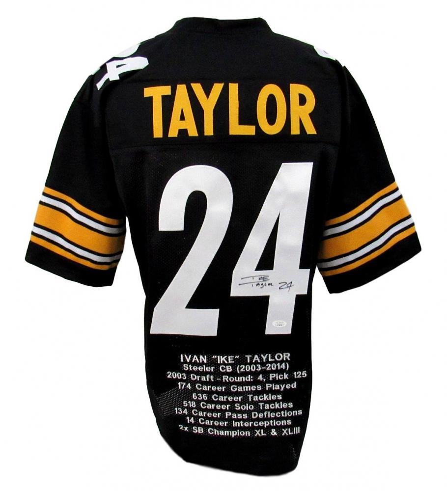 Ike Taylor Signed Career Highlight Stat Jersey (JSA COA ...