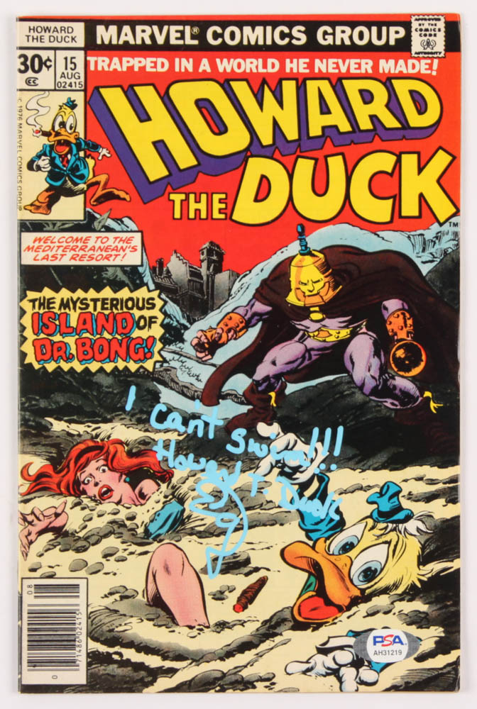 "Ed Gale Signed 1977 ""Howard The Duck"" Issue #15 Marvel Comic Book Inscribed ""I Can't Swim"" & ""Howard T. Duck"" (PSA Hologram) at PristineAuction.com"