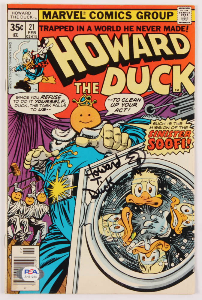 """Ed Gale Signed 1977 """"Howard The Duck"""" Issue #21 Marvel Comic Book Inscribed """"Howard T. Duck"""" (PSA Hologram) at PristineAuction.com"""