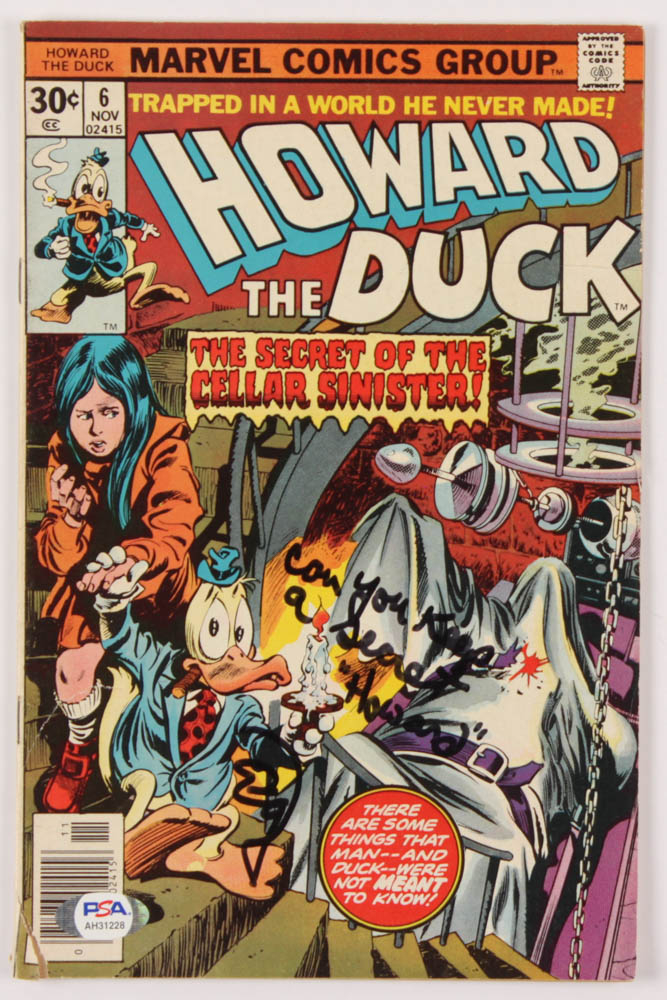"""Ed Gale Signed 1976 """"Howard The Duck"""" Issue #6 Marvel Comic Book Inscribed """"Can You Keep A Secret"""" & """"Howard"""" (PSA Hologram) at PristineAuction.com"""
