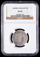 1669KB Hungary, Holy Roman Empire 6k Six Kreuzer Silver Coin (NGC XF45) at PristineAuction.com