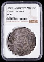 1655 Philip IV Spanish Netherlands, Tournau Silver Patagon (NGC VF20) at PristineAuction.com