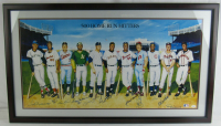 500 HR Hitters 18x36 Custom Framed Poster Signed by (11) Including Mickey Mantle, Ted Williams, Willie Mays, Frank Robinson, Harmon Killebrew, Reggie Jackson (JSA LOA) at PristineAuction.com
