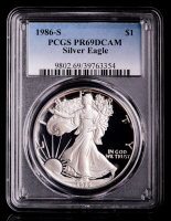 1986-S American Silver Eagle $1 One-Dollar Coin (PCGS PR69 Deep Cameo) at PristineAuction.com