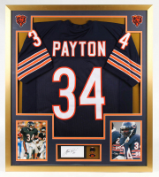 Walter Payton Signed 32x36 Custom Framed Cut Display with Payton Pin (PSA) at PristineAuction.com