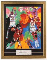 "LeRoy Neiman Signed 24.5x31 Custom Framed Cut Display with Vintage Michael Jordan Print Inscribed ""10-13-92"" (PSA Hologram) at PristineAuction.com"