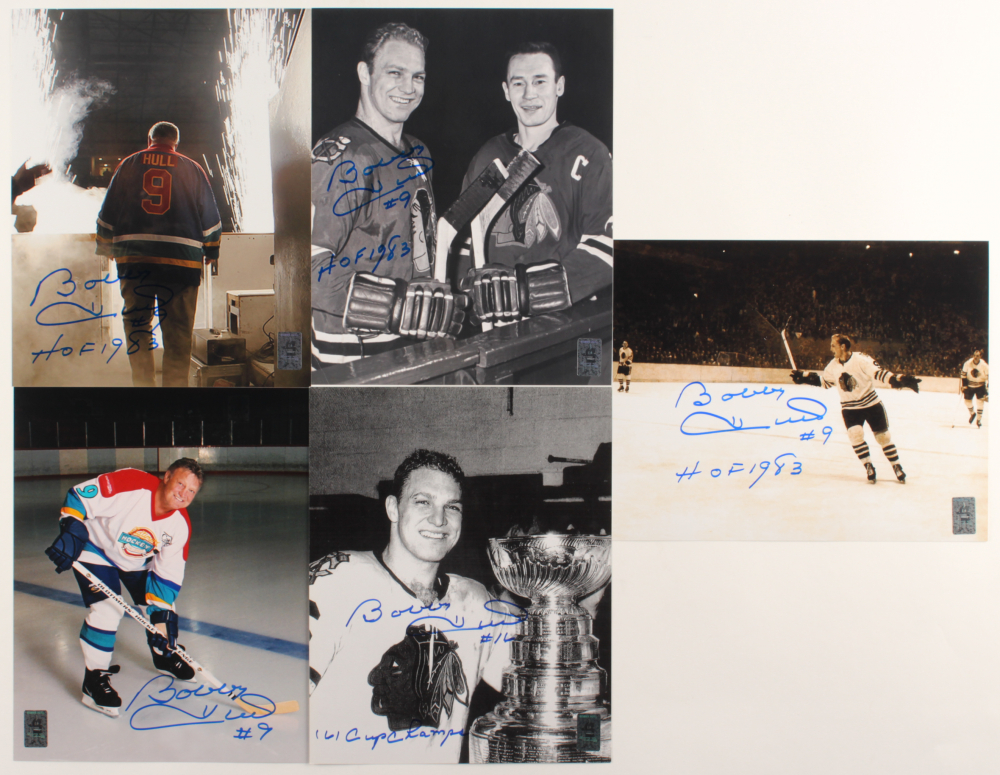 """Lot of (5) Bobby Hull Signed Blackhawks 8x10 Photos Inscribed """"1961"""", """"'61 Cup Champs"""", & """"HOF 1983"""" (Hull Hologram) at PristineAuction.com"""