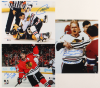 "Lot of (3) Signed Blackhawks 8x10 Photos with Bobby Hull, Patrick Sharp, & Andrew Shaw Inscribed  ""HOF 1983"" (Beckett COA & Hull Hologram) at PristineAuction.com"