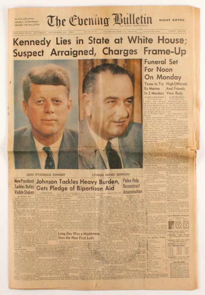 "Original November 23rd, 1963 ""John F. Kennedy Lies in State"" Philadelphia ""The Evening Bulletin"" Newspaper at PristineAuction.com"