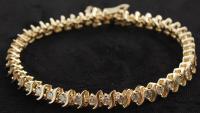 14kt Yellow Gold & Diamond Line Bracelet at PristineAuction.com