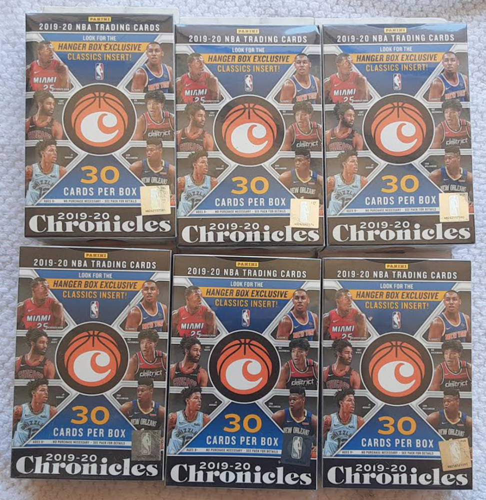 Lot of (6) 2019-20 Panini Chronicles Basketball Hanger Box of (8) Packs at PristineAuction.com