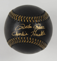 "Pete Rose Signed OML Black Leather Baseball Inscribed ""Charlie Hustle"" (Fiterman Hologram) at PristineAuction.com"