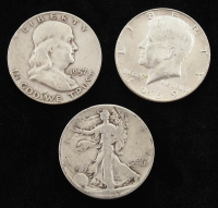 Lot of (3) Half Dollars with 1941 Walking Liberty Silver, 1957 Franklin Silver, 1969-D Kennedy at PristineAuction.com