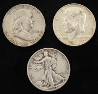 Lot of (3) Half Dollars with 1937 Walking Liberty Silver, 1952 Franklin Silver, 1968-D Kennedy at PristineAuction.com