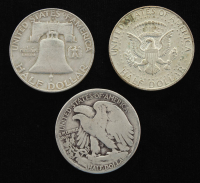 Lot of (3) Half Dollars with 1934-D Walking Liberty Silver, 1957-D Franklin Silver, 1968-D Kennedy at PristineAuction.com