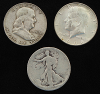 Lot of (3) Half Dollars with 1934 Walking Liberty Silver, 1959-D Franklin Silver, 1968-D Kennedy at PristineAuction.com